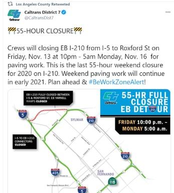Caltrans District 7 Closure Announcement