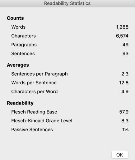 Screenshot of Microsoft Word readability statistics