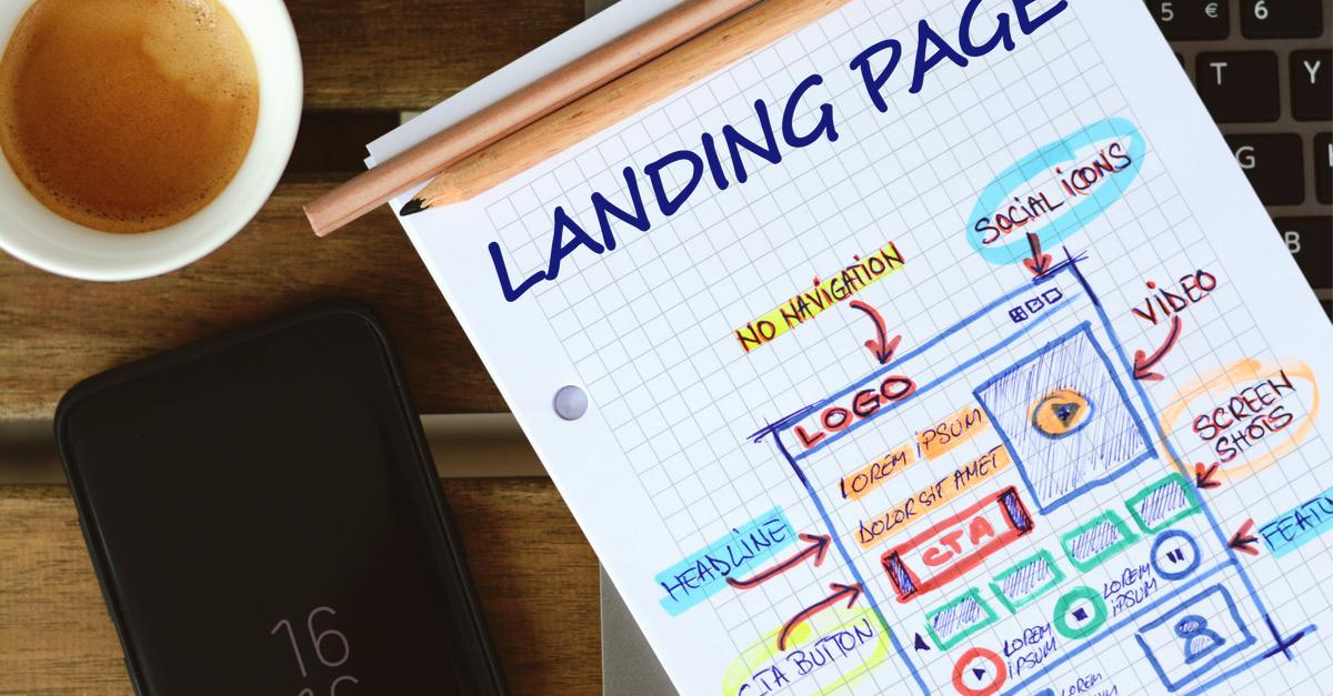 Sketch of landing page design