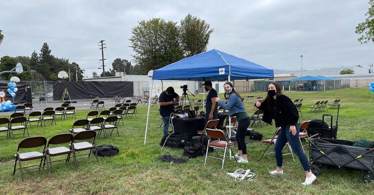 The Presidio team sets up for a livestream
